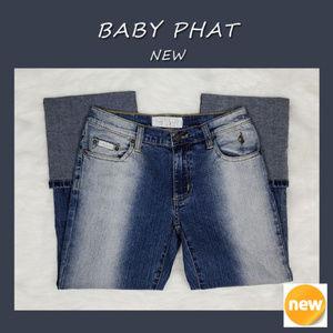 Baby Phat Distressed Cuffed Capri Jeans Sz 7